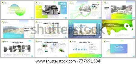 Clean, minimal presentation templates. Colorful elements on white background for your portfolio. Brochure cover vector design. Presentation slides for flyer, leaflet, brochure, report, advertising.