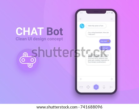 Clean Mobile UI Design Concept. Trendy Chatbot Application with Dialogue window. Sms Messenger. Vector EPS 10