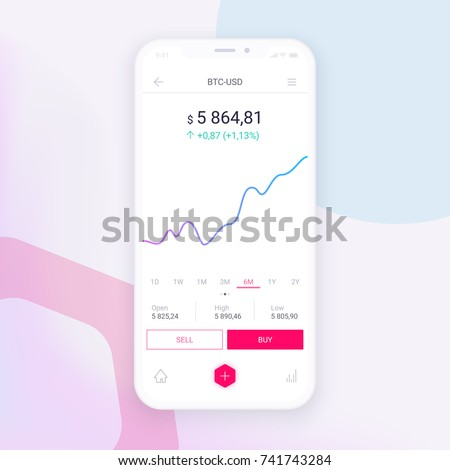 Clean Mobile UI Design Concept. Trendy Mobile Banking. Cryptocurrency Technology. Bitcoin Exchange. Financial analytics. Trading Business Application Template. Vector EPS 10