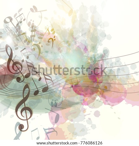Clean music background with spots and notes symbol of inspiration