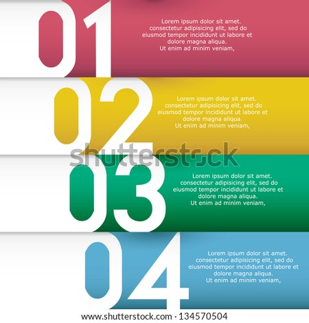 clean numbered banners for sample text.Vector design template.