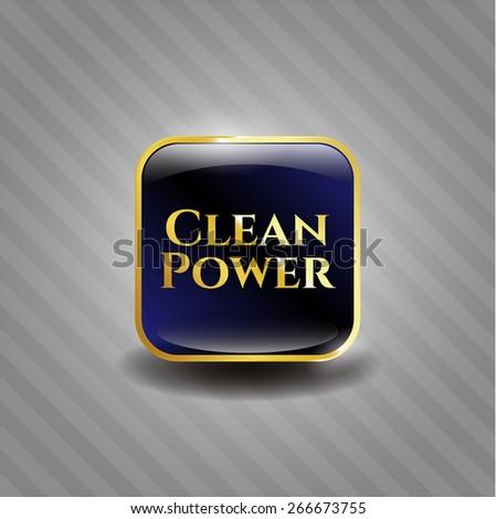 Clean power blue shiny emblem