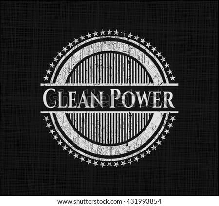 Clean Power chalk emblem, retro style, chalk or chalkboard texture