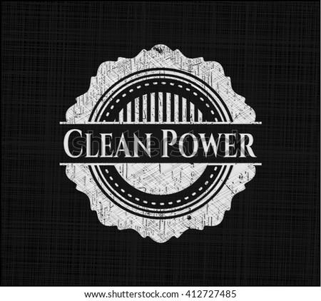 Clean Power chalkboard emblem on black board