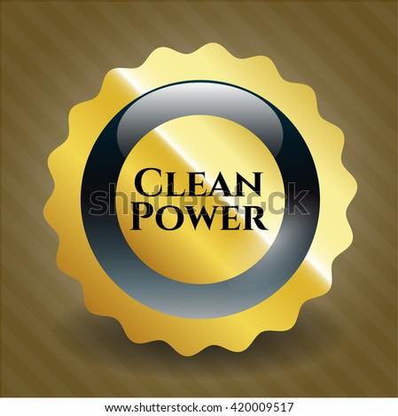 Clean Power gold emblem or badge