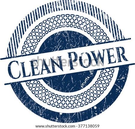 Clean Power grunge style stamp