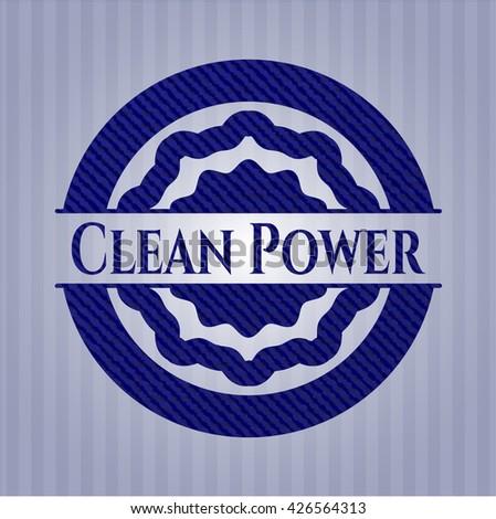 Clean Power jean or denim emblem or badge background