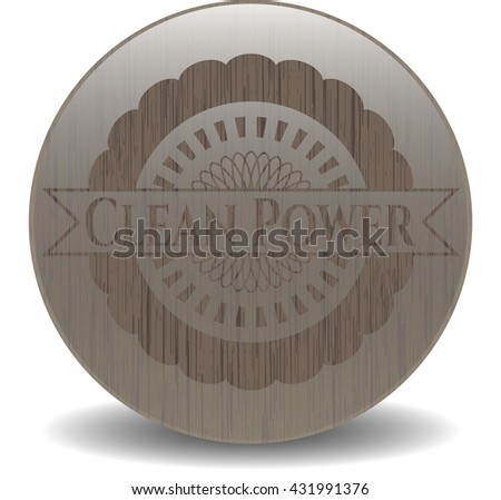 Clean Power realistic wood emblem