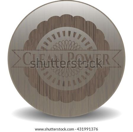 Clean Power realistic wood emblem