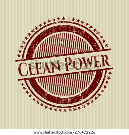Clean power red rubber stamp