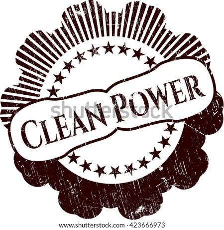 Clean Power rubber grunge stamp
