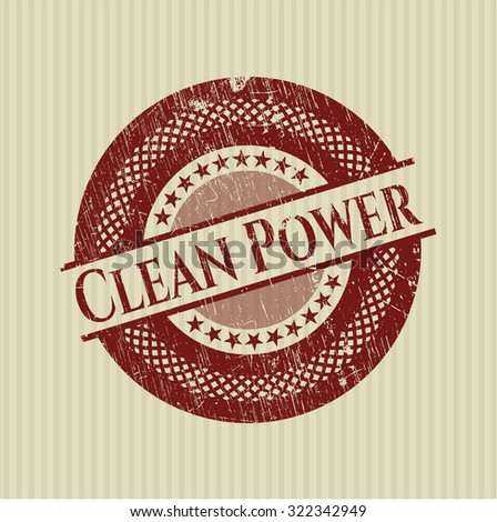 Clean Power rubber stamp with grunge texture