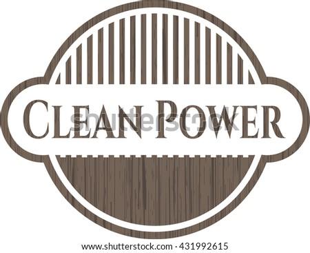 Clean Power vintage wooden emblem