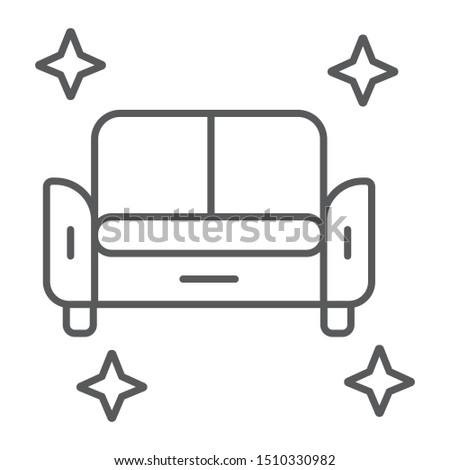 Clean sofa thin line icon, house and wash, furniture cleaning sign, vector graphics, a linear pattern on a white background, eps 10.
