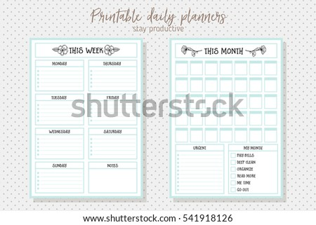 clean style daily planner vector template stationery design cute and simple printable to do