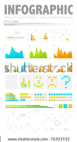 Clean style infographic design elements: bars, charts, labels and others - stock vector