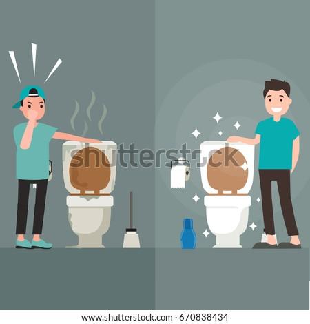 Clean toilet versus dirty toilet