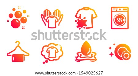 Clean towel, Clean bubbles and Hold t-shirt line icons set. Dryer machine, Water splash and Dirty t-shirt signs. Laundry hanger, Laundry shampoo. Cleaning set. Gradient clean towel icons set. Vector