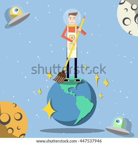 Clean up the world,This is vector.  - stock vector