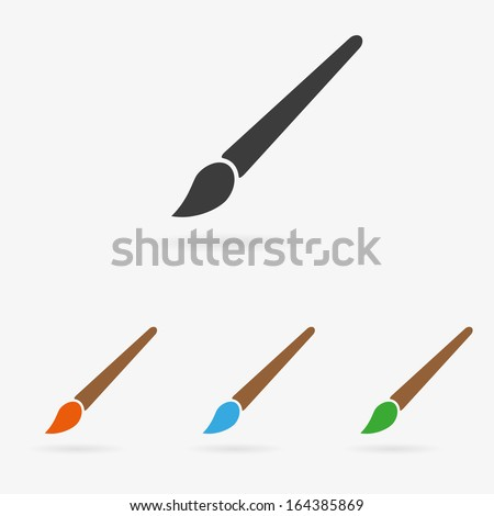 Clean vector color art brush symbol icon set