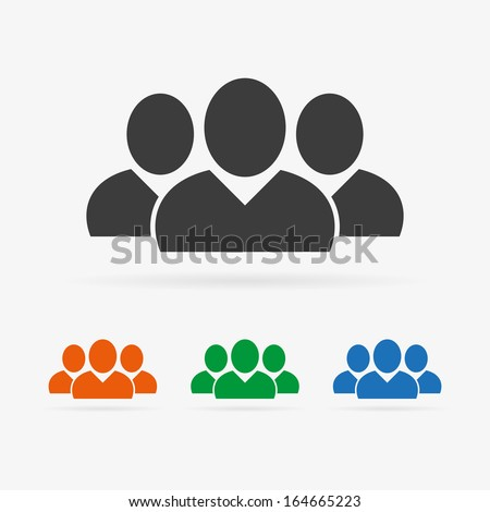 Clean vector color people or social symbol icons set