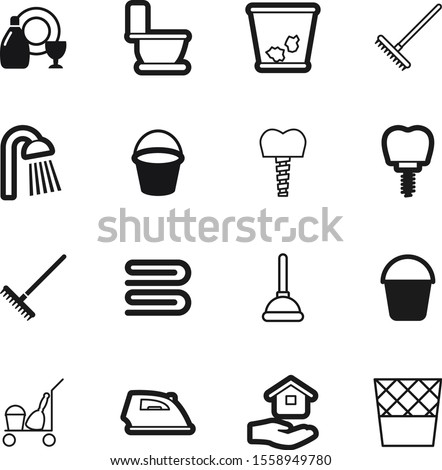 clean vector icon set such as: clothing, element, press, drain, liquid, douche, plunger, domestic, electrical, cleanup, outline, vacuum, paper, pipe, heat, rain, trashcan, bucketful, delete, iron