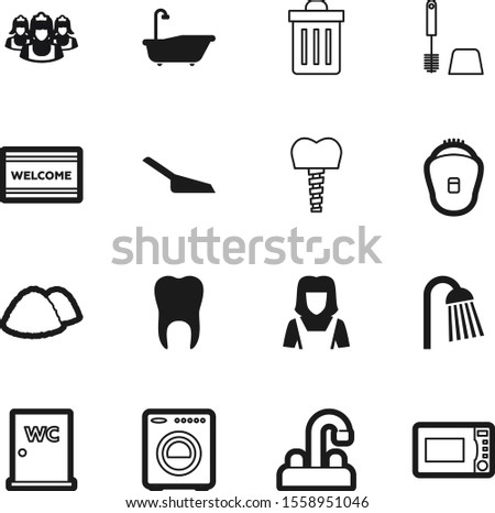 clean vector icon set such as: dirty, person, dinner, doormat, cooking, dent, mat, implantation, button, estate, electric, load, cut, welcome, food, human, pet, body, male, mixer, can, douche, oven