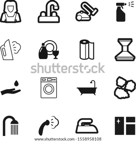 clean vector icon set such as: hold, ironing, outline, wipe, douche, apron, color, nature, room, soap, gray, contemporary, dump, pile, beauty, can, job, garbage, purity, foam, window, maid, towel