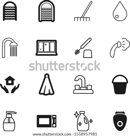 clean vector icon set such as: industry, nature, bucket, towels, spray, light, showering, pump, electric, raindrop, douche, cosmetic, glass, trash, can, building, appliance, item, epilator, textile