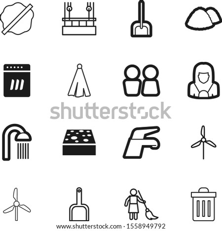 clean vector icon set such as: rotation, housemaid, housework, pad, renewable, shovel, splotch, soap, drop, production, risky, skyscraper, art, efficiency, innovation, development, recycling, wc