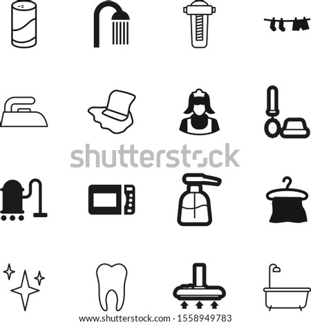 clean vector icon set such as: sanitary, icons, toothache, drink, douche, clear, towels, spray, human, pump, dentist, hands, make, heat, dispenser, press, showering, laundry, decorative, group