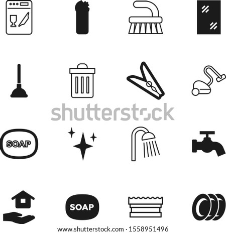clean vector icon set such as: sky, shower, dress, burst, pump, trash, dishware, purity, shiny, window, computer, rope, hang, bright, sink, real, plates, douche, empty, rubbish, leak, waste