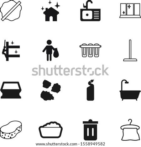 clean vector icon set such as: suds, sanitation, splotch, element, ecological, chemical, services, natural, light, milk, detergent, bucket, broom, blot, sparkle, minimal, windows, paint, bag, laundry