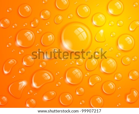 Clean water drop background on orange surface