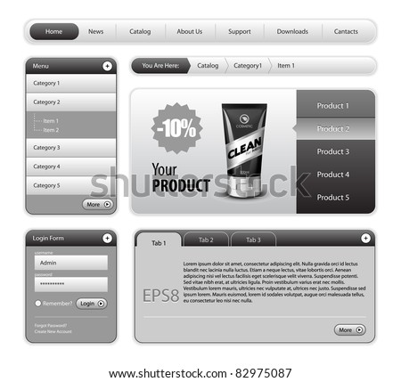 Clean Website Design Gray Elements: Buttons, Form, Slider, Scroll, Icons, Tab, Menu, Navigation Bar, Login, Template : Part 2