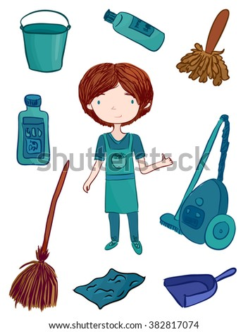 cleaner man vector flat