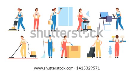 Cleaner persons. Cleaning service workers male female cleaners in uniform vacuuming housemaids household equipment vector characters