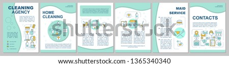 Cleaning agency brochure template layout. Housekeeping. Flyer, booklet, leaflet print design, linear illustrations. Maid service. Vector page layouts for magazines, annual reports, advertising posters