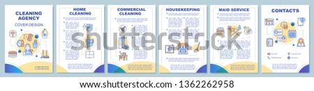 Cleaning agency brochure template layout. Housekeeping. Maid service. Flyer, booklet, leaflet print design, linear illustrations. Vector page layouts for magazines, annual reports, advertising posters