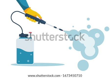 Cleaning and disinfecting coronavirus. Atomizer and sprayer. Man in hazmat suit and gloves. Pandemic risk. Vector illustration flat design. Epidemic spread precautions.