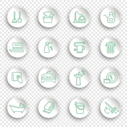 Cleaning and housework Icons, thin line style on white stickers with transparent shadows