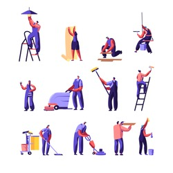 Cleaning and Repair Service Workers Set. Home Worker with Roller for Wall Painting. Service of Professional Cleaners at Work Mopping, Vacuuming Floor, Rub, Sweeping. Cartoon Flat Vector Illustration