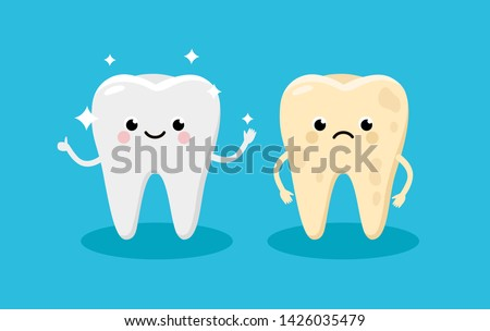 Cleaning and whitening teeth concept vector illustration. Snow-white Happy Tooth and Yellow Moody Tooth Cartoon characters in flat design. Tooth before and after whitening infographic elements.