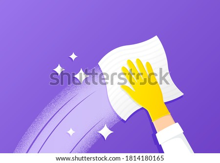 Cleaning and wipe surface. Antibacterial wet wipe. Gloved cleaner hand wipes with kitchen towel. Protective yellow rubber glove. Home hygiene. Clean and shine surface. Sanitize cleaning cloth. Vector