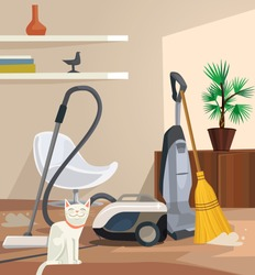 Cleaning banner. Office room. Vector flat cartoon illustration