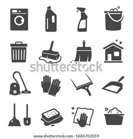 Cleaning black icon, domestic equipment and service. Professional home hygiene, housecleaning supplies. Vector cleanup signs illustration Stock photo ©