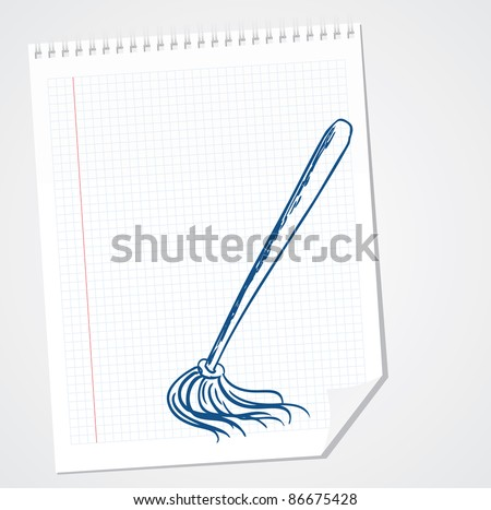 cleaning brush vector doodle