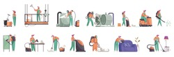 Cleaning color set of isolated icons and human characters of professional cleaners in uniform with detergents vector illustration