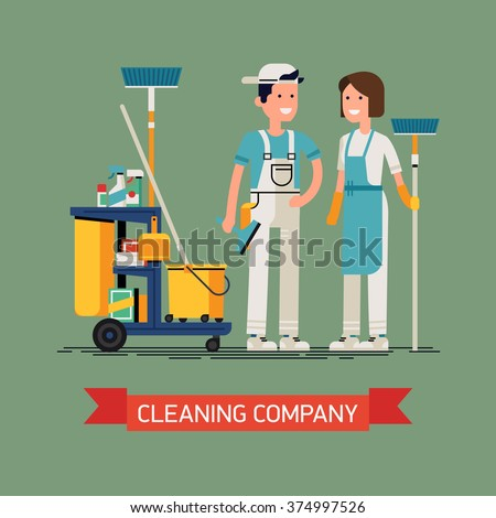 Cleaning company vector concept design. Cleaning staff characters with cleaning equipment in trendy flat design. Friendly smiling adult janitor workers standing