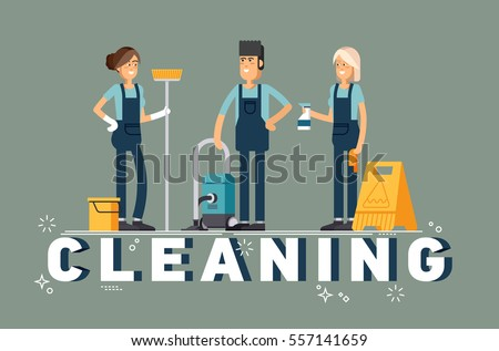 Cleaning company vector concept design. Cleaning staff characters with cleaning equipment in trendy flat design. Friendly smiling janitor workers standing. Professional housekeeper